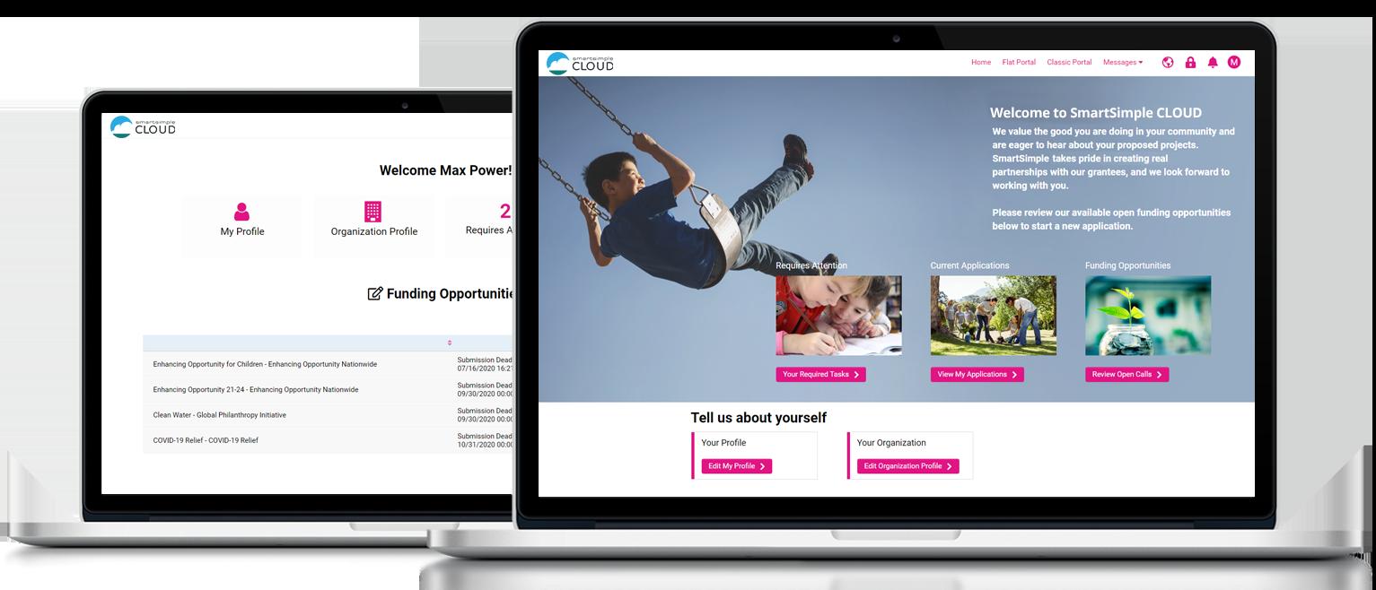 SmartSimple Cloud dashboard screenshots