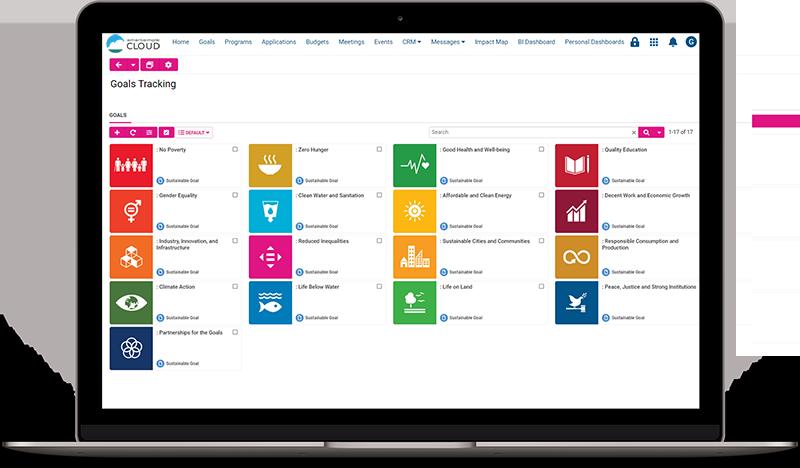 Screenshot of Goals Tracking in SmartSimple Cloud
