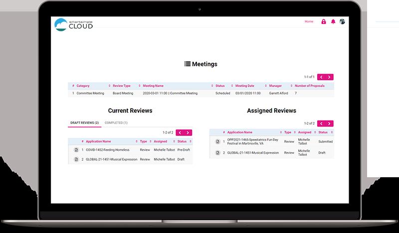 Screenshot of meetings dashboard
