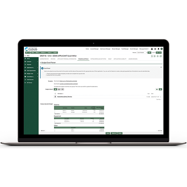 Screenshot of a budget excel parser within SmartSimple Cloud