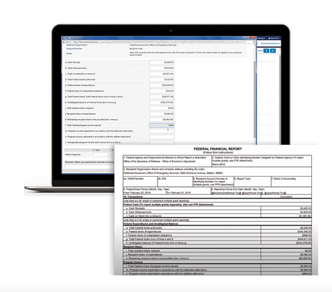 Screenshot of how SmartSimple's Unite simplifies the populating Standard Forms like SF-425