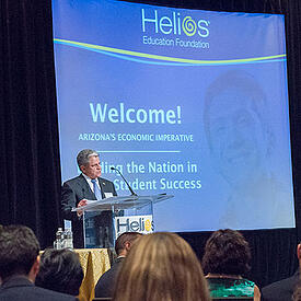 The Founding Chairman of Helios Education Foundation speaking to an audience at a conference in Arizona