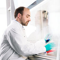 Photo of a lab technician at Merz - Merz's Grants and Giving portal