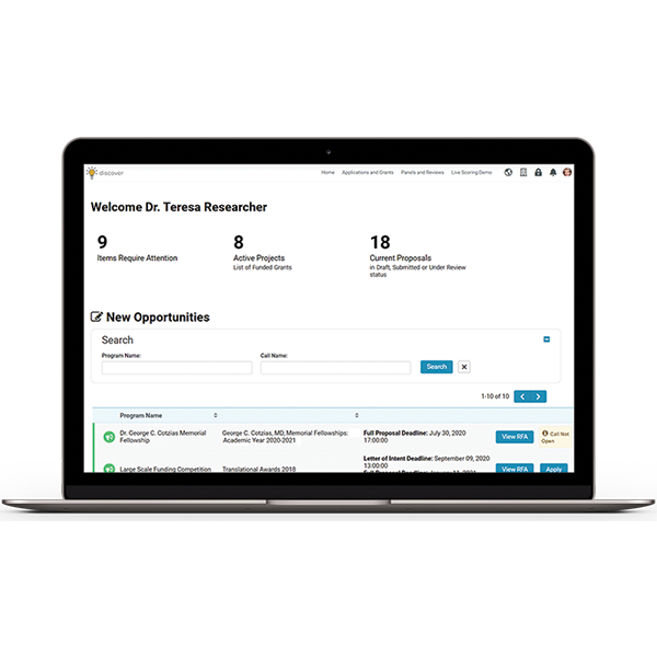 Discover Dashboard Researcher