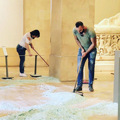 Restoring of the National Museum of Beirut , greatly damaged by the 4 August explosion.