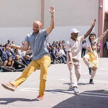 A street dance performance