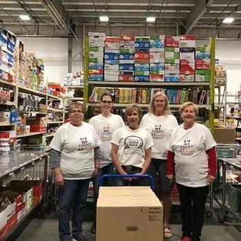 A group of food bank volunteers.