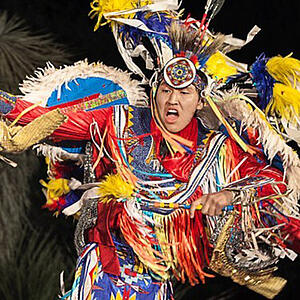 Native American in ceremonial performance