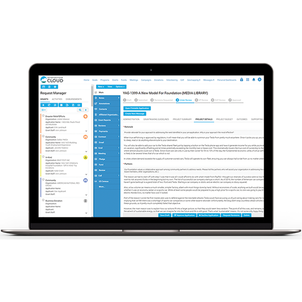Screenshot of application forms and proposals within SmartSimple Cloud