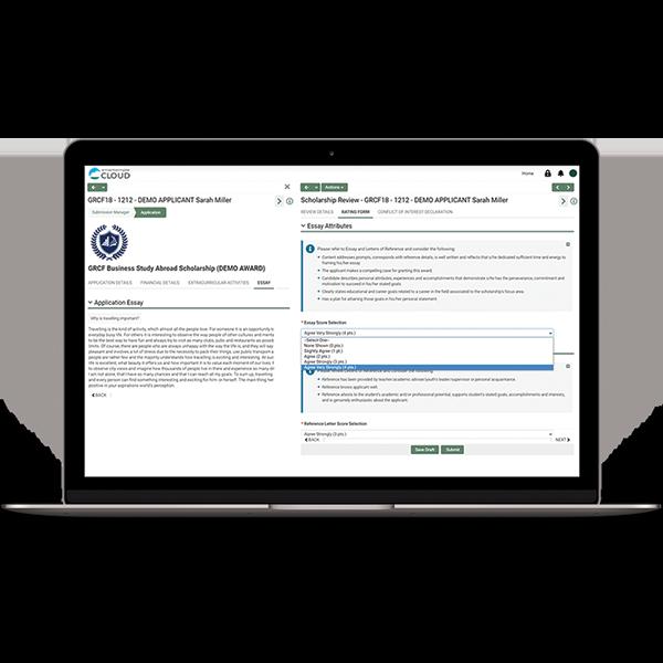 Screenshot of accessing review metrics in SmartSimple Cloud