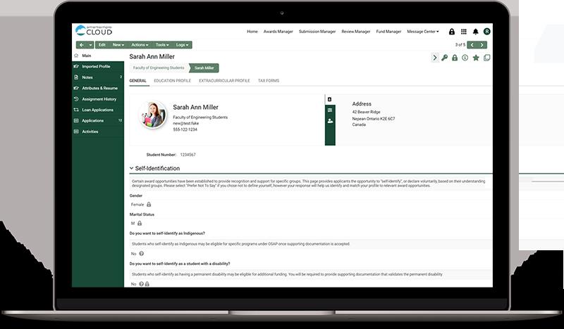 Screenshot of a personal profile in SmartSimple Cloud