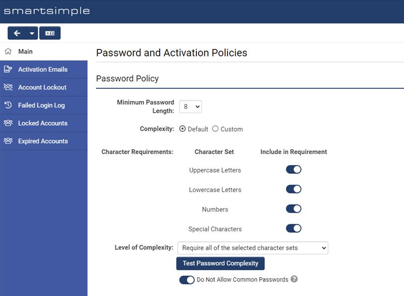 SmartSimple's Password Configuration