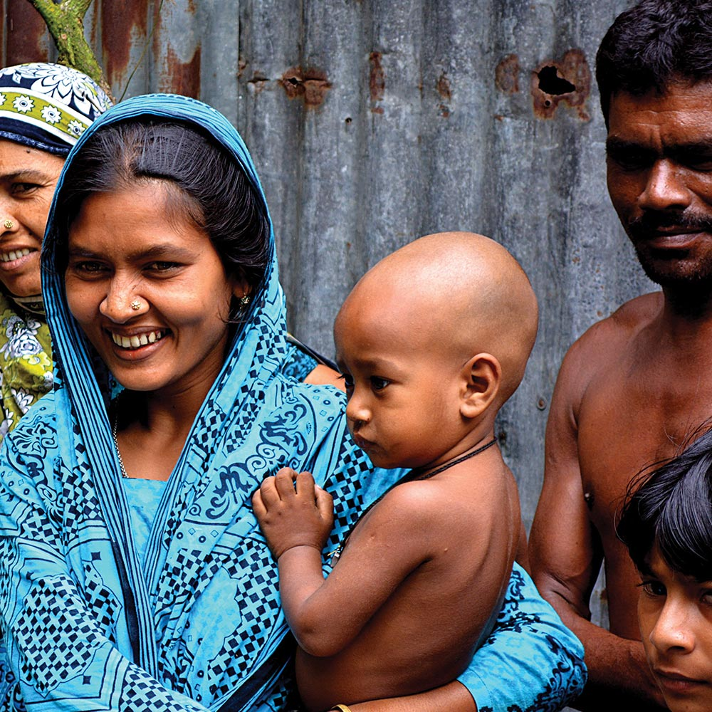 Family from a developing country
